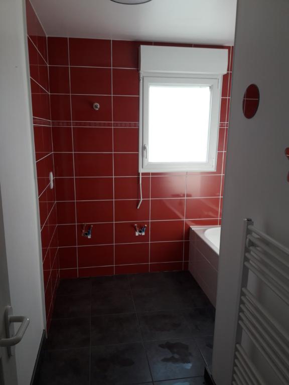 aménagement salle de bain faience rouge